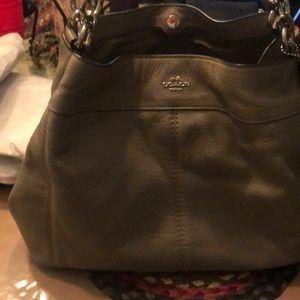 Coach gray leather shoulder bag